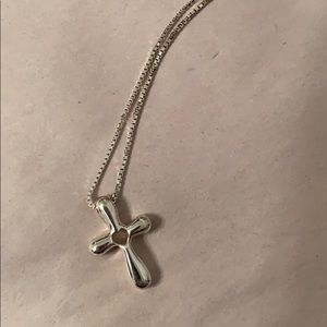 "Sterling silver 16"" women's cross necklace"
